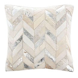 Safavieh Brea Metallic Cowhide Throw Pillow in Silver