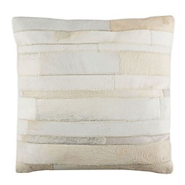 Safavieh Ruled Cowhide Square Throw Pillow in Beige