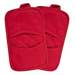 KitchenSmart® Colors 2 Solid Pocket Pot Mitts in Red (Set of 2)