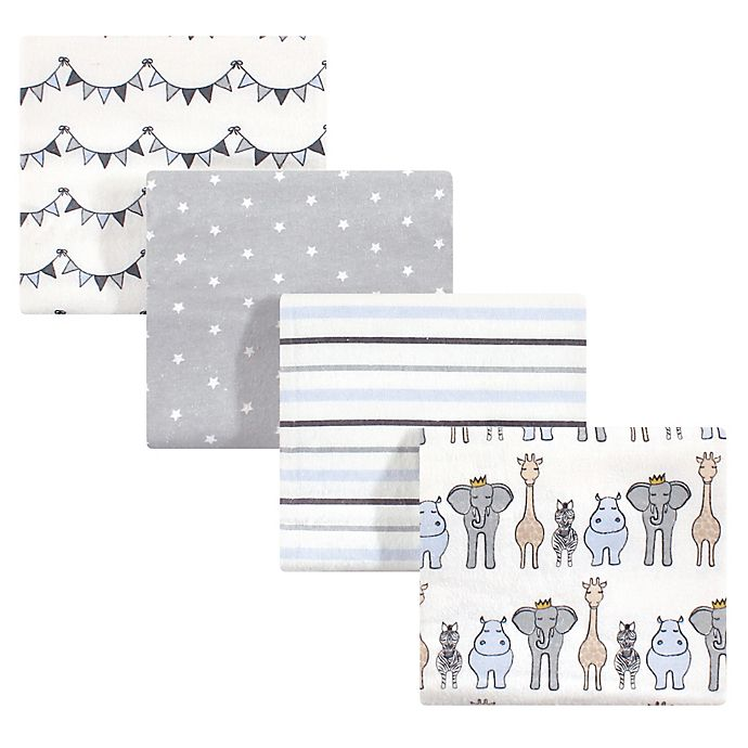 Alternate image 1 for Hudson Baby 4-Pack Royal Safari Flannel Receiving Blankets in Blue