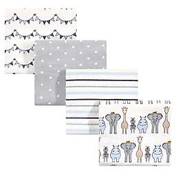 Hudson Baby 4-Pack Royal Safari Flannel Receiving Blankets in Blue
