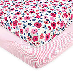 Touched by Nature 2-Pack Garden Floral Fitted Crib Sheets in Pink