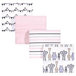 Hudson Baby 4-Pack Safari Flannel Receiving Blankets in Pink