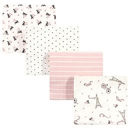 Hudson Baby 4-Pack Paris Flannel Receiving Blankets in Beige