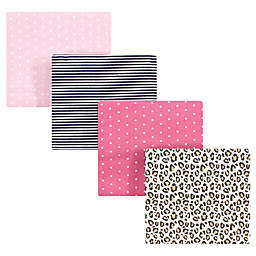 Hudson Baby 4-Pack Leopard Flannel Receiving Blankets in Pink