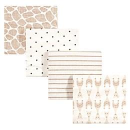 Hudson Baby 4-Pack Giraffe Flannel Receiving Blankets in Beige