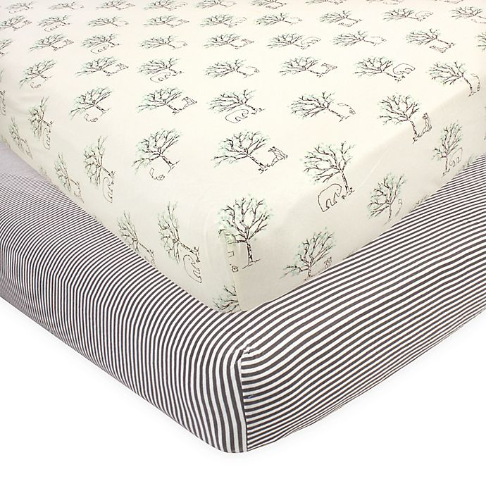 Alternate image 1 for Touched by Nature 2-Pack Birch Fitted Crib Sheets in Beige