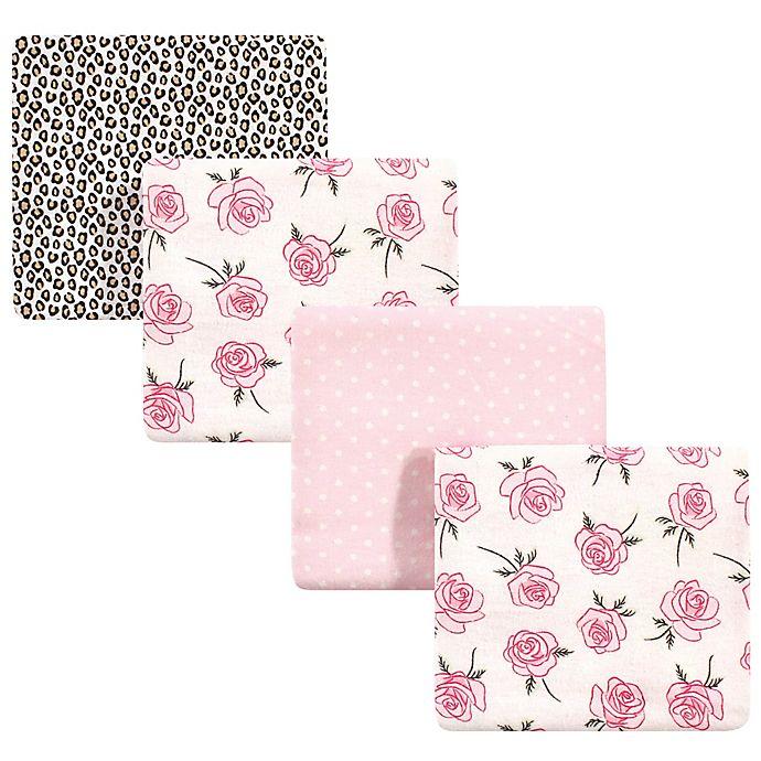 Alternate image 1 for Little Treasure™ 4-Pack Roses Receiving Blanket in Pink