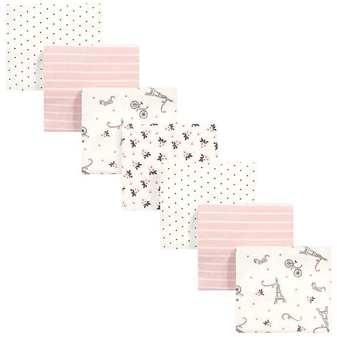 Alternate image 1 for Hudson Baby 7-Pack Paris Flannel Receiving Blankets in Beige