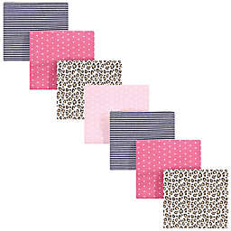 Hudson Baby 7-Pack Leopard Flannel Receiving Blankets in Pink