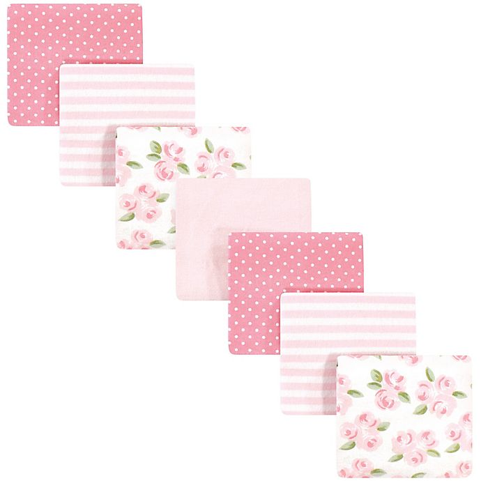 Alternate image 1 for Little Treasure™ 7 Pack Floral Receiving Blankets in Pink