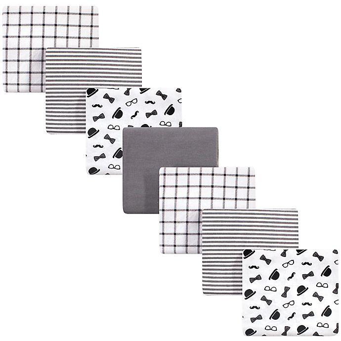 Alternate image 1 for Little Treasure™ 7-Pack Gentleman Flannel Receiving Blankets in Black