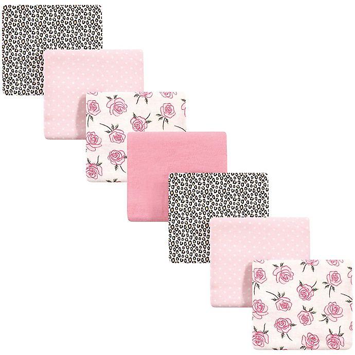 Alternate image 1 for Little Treasure™ 7-Pack Leopard Flannel Receiving Blankets in Pink