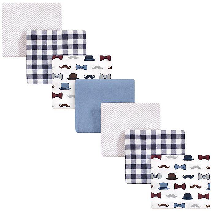 Alternate image 1 for Little Treasure™ 7-Pack Fella Flannel Receiving Blankets in Blue
