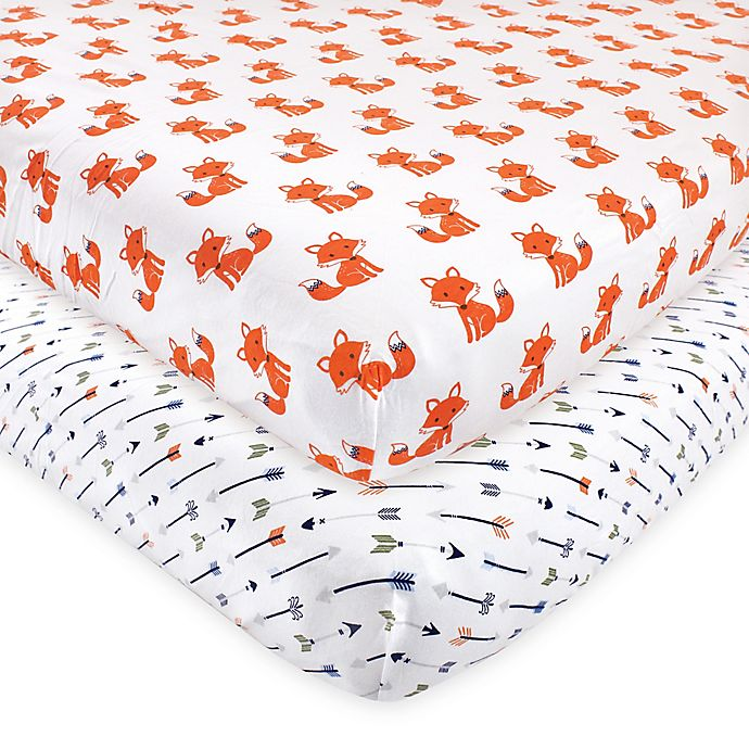 Alternate image 1 for Hudson Baby 2-Pack Foxes Fitted Crib Sheets in Orange