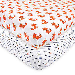 Hudson Baby 2-Pack Foxes Fitted Crib Sheets in Orange