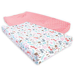 Hudson Baby 2-Pack Fox Changing Pad Covers in Pink