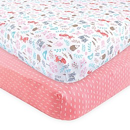 Hudson Baby 2-Pack Woodland Animals Fitted Crib Sheets in Pink