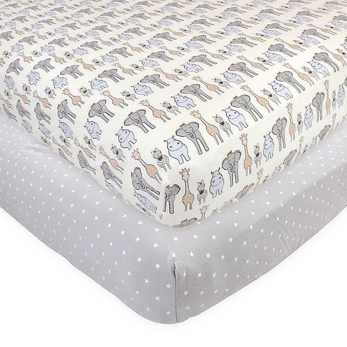 Alternate image 1 for Hudson Baby 2-Pack Royal Safari Fitted Crib Sheets in Blue
