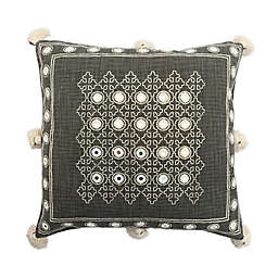 Global Caravan Ouled Embroidered Square Throw Pillow in Grey