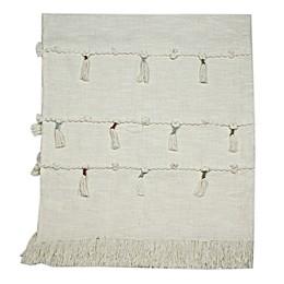 Global Caravan Panaji Tasseled Throw Blanket in Off White