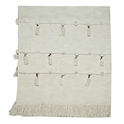 Global Caravan Panaji Tasseled Throw Blanket in Off White