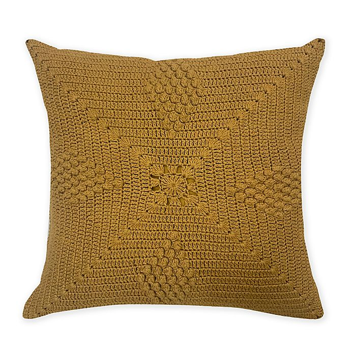Alternate image 1 for Global Caravan Rajisthan Crocheted Square Throw Pillow in Amber Gold