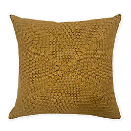 Global Caravan Rajisthan Crocheted Square Throw Pillow in Amber Gold