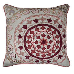 Global Caravan Rachid Embroidered Square Throw Pillow