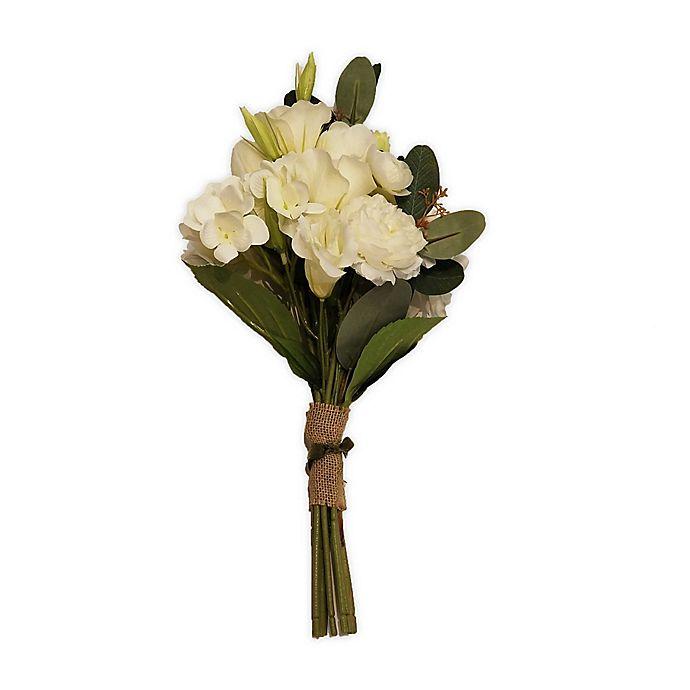 Alternate image 1 for New York Botanical Garden® Charlotte Medium Faux Hydrangea Bouquet in White