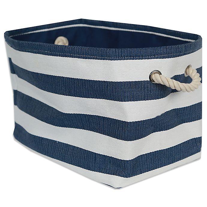 Alternate image 1 for Striped Medium-Sized Storage Bin in Seaside Blue/White