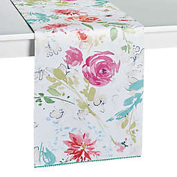 Spring Medley Floral Table Runner with Pom Pom Trim