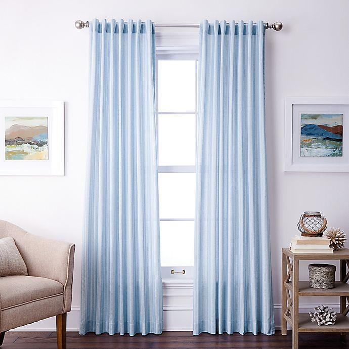 Alternate image 1 for Coastal Life Denim Stripe Rod Pocket/Back Tab Light Filtering Window Curtain Panel