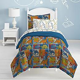 Dream Factory Dino Blocks Comforter Set in Blue