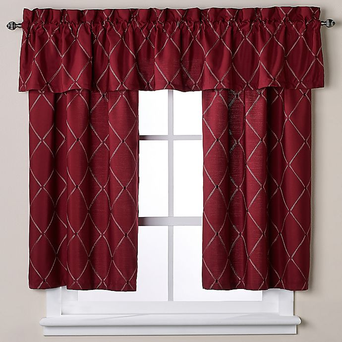 Wellington Bath Window Curtain Tier Pair And Valance In Wine Bed Bath Amp Beyond