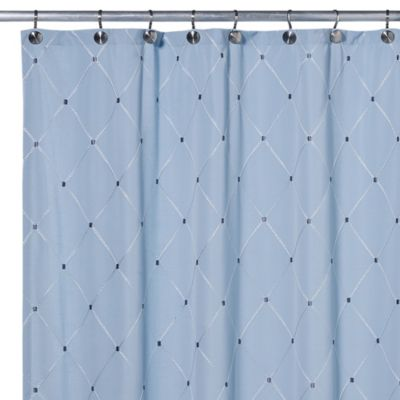 Wellington Fabric Shower Curtain In Blue
