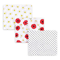 Hudson Baby® 3-Pack Poppy Daisy Muslin Swaddle Blankets in White