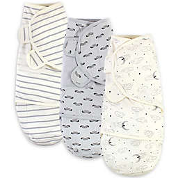 Touched by Nature Size 0-3M 3-Pack Mr. Moon Organic Cotton Swaddles in White/Grey