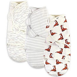 Touched by Nature Size 0-3M 3-Pack Boho Fox Organic Cotton Swaddle Wraps in White