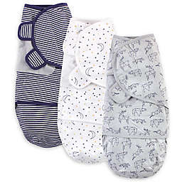 Touched by Nature Size 0-3M 3-Pack Constellation Organic Cotton Swaddle Wraps in Navy/Grey