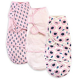 Touched by Nature Size 0-3M 3-Pack Blossoms Organic Cotton Swaddle Wraps in Pink