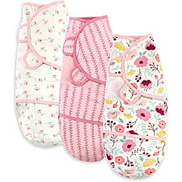 Touched by Nature Size 0-3M 3-Pack Botanical Organic Cotton Swaddle Wraps in Pink