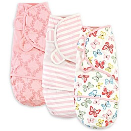 Touched by Nature Size 0-3M 3-Pack Butterflies Organic Cotton Swaddle Wraps in Pink/White