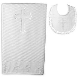 Lauren Madison Christening Blanket and Girl's Bib Set in White