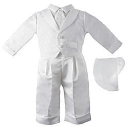 Lauren Madison 24M 2-Piece Embroidered Christening Coverall and Hat Set in White