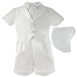 Lauren Madison 2-Piece Embroidered Christening Short and Hat Set in White