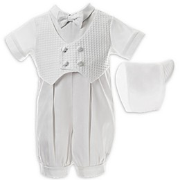 Lauren Madison 2-Piece Christening Pleated Romper and Hat Set in White
