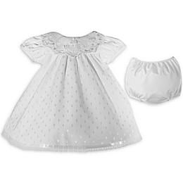 Lauren Madison Christening Dress and Diaper Cover Set in White