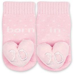IQ Kids Size 0-6M 2020 Heart Rattle Socks in Pink