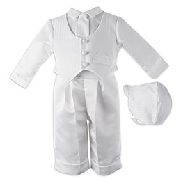 Lauren Madison 2-Piece Satin Stripe Christening Coverall and Hat Set in White